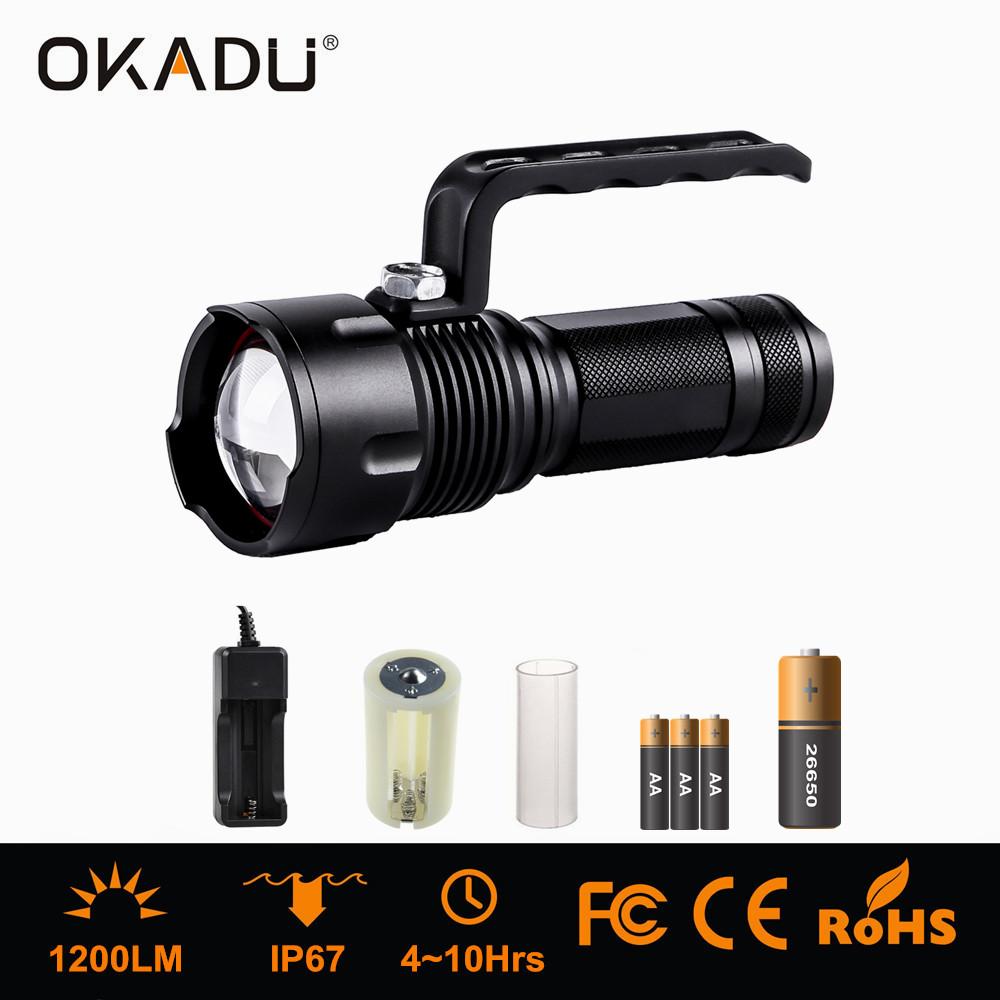 OKADU ZT09H Cree XM-L T6 Rechargeable LED Torch LED Zoom Handheld Flashlight