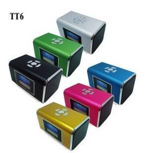Portable Mini USB Speaker Clock Lyrics Screen SD FM(tt6)
