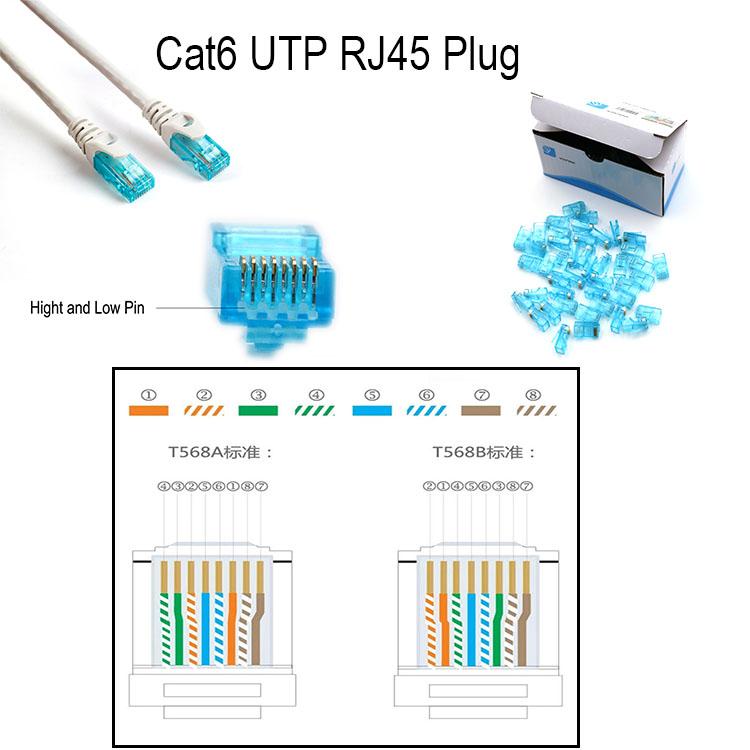 CAT6/Cat5e UTP RJ45 Modular Plug 100-Park RJ45 Unshielded 8p8c RJ45 Patch Cable Connector