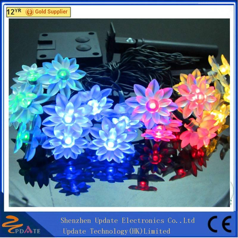 Twinkle decorative solar lights fancy lotus shape 20 led string lighting