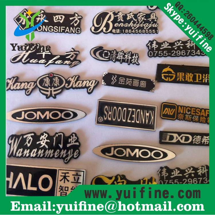 name plate aluminum metal label costomized logo metal tag adhensive sticker embossed nameplate