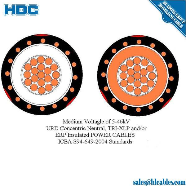XLPE/PVC insulated copper /aluminum single concentric cable