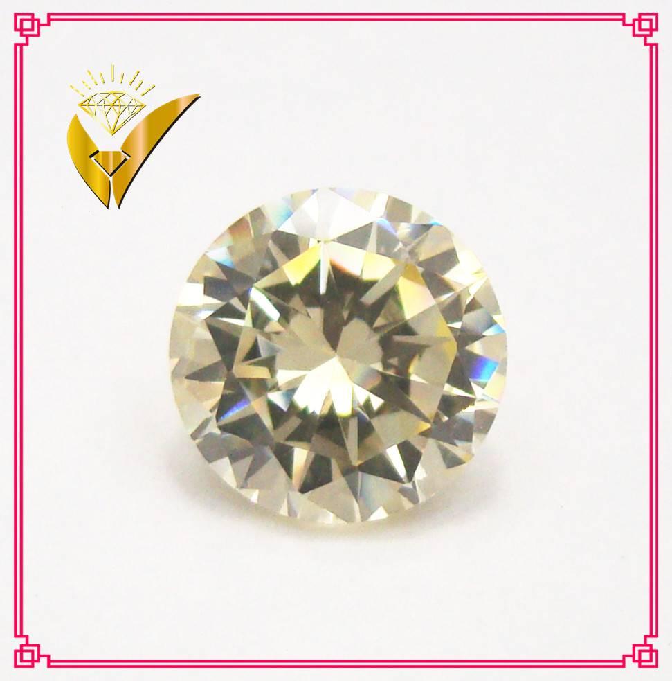 naple yellow round shaped cubic zirconia fake diamond