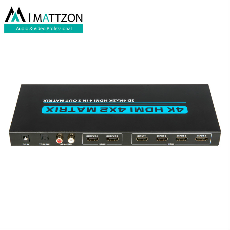Mattzon HDMI ultra 4k 4x2 Matrix 4 ports in 2 ports out