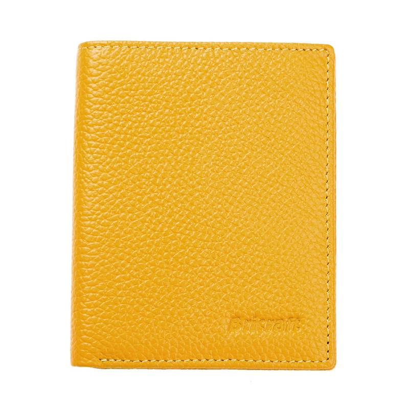 yellow ladies safe wallet rfid  pebble leather  slim purse