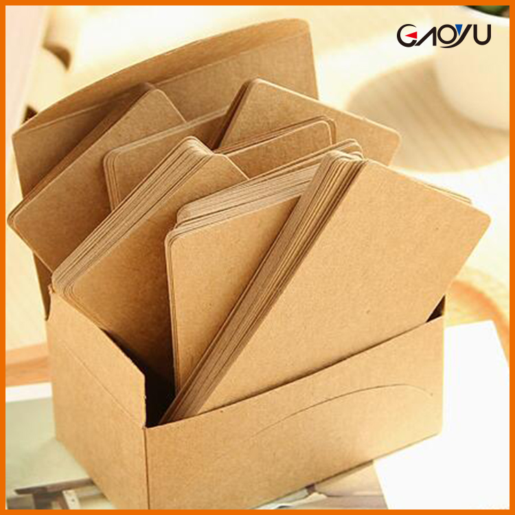 100 Pcs Brown Double Sided Kraft Paper Label Tag Message Graffiti Card Gift Name Card Memo Not Pad