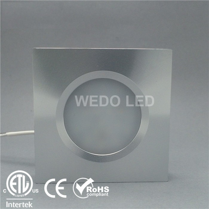 ETL Square Dimmable 3W 12V 24V LED Puck Light