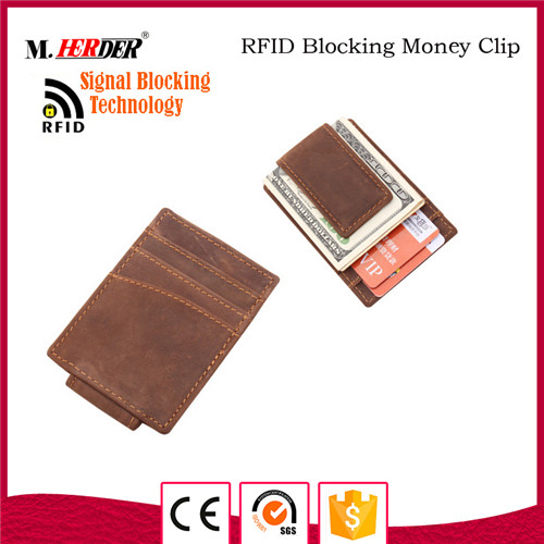 Fashion brown rfid money clip