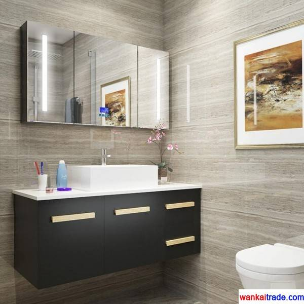 Multilayer solid wood bathroom vanity with senior wooden paint and bluetooth music player