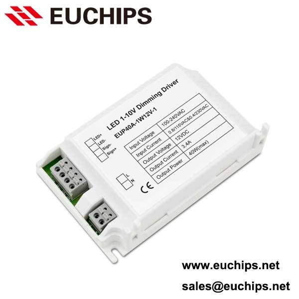 100-240VAC 40W 12VDC 3.4A 1 channel 1-10v dimmable constnat voltage led dimmable driver EUP40A-1W12V