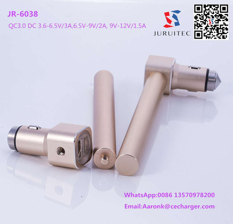 Emergency Rescue Hammer Window Glass Breaker Tool Usb Car Charger Connector QC 3.0 and 4A Output
