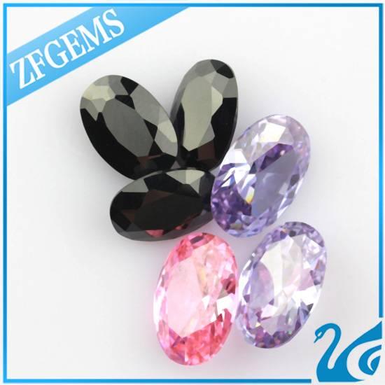 high polishing egg shape 7*9 mm european machine cut cubic zirconia