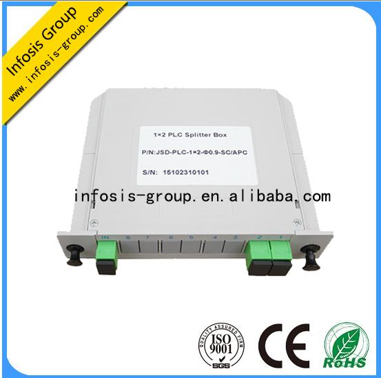 Telecommunication Fiber Optic Equipment Low Insertion Loss 1x2 ABS box/bare fiber/Blockess PLC Split