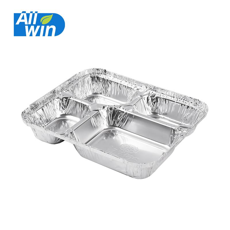 950ml 4-Compartment Aluminum Foil Container / Aluminum Foil Containers Disposable