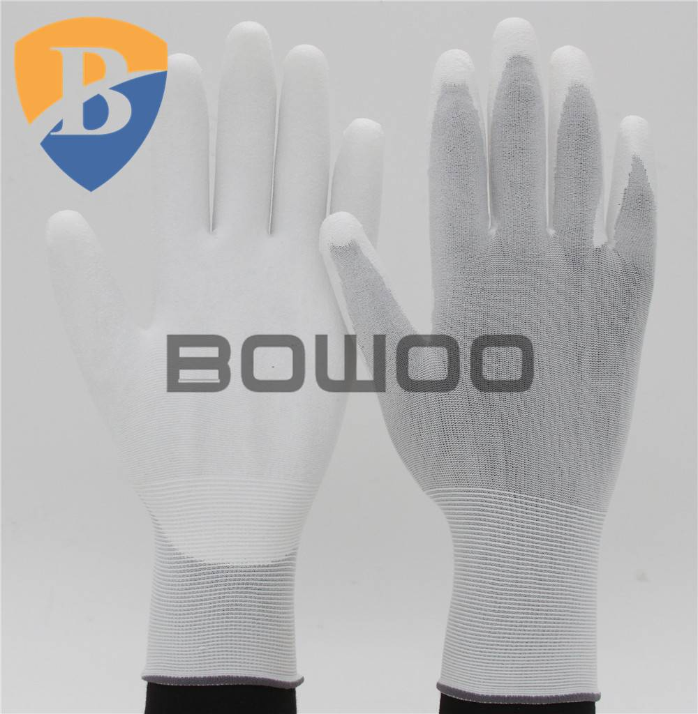 13G white nylon knitted PU working glove