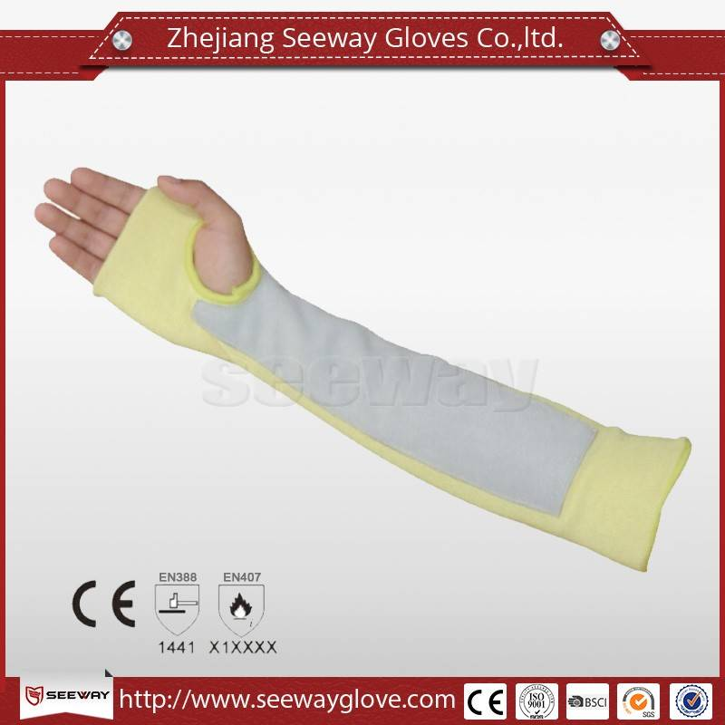 SeeWay SA02 Cut Resistant Knitted (With Thumb Slot) long sleeve Cow leather patches