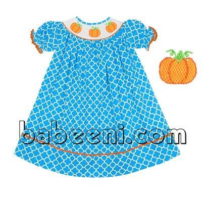 Adorable pumpkin hand smocked bishop dress - BB693