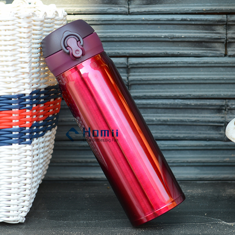 500ml Travel Coffee Flask Stainless Steel Vacuum Insulated push botton drinking sport bottles Hangzh