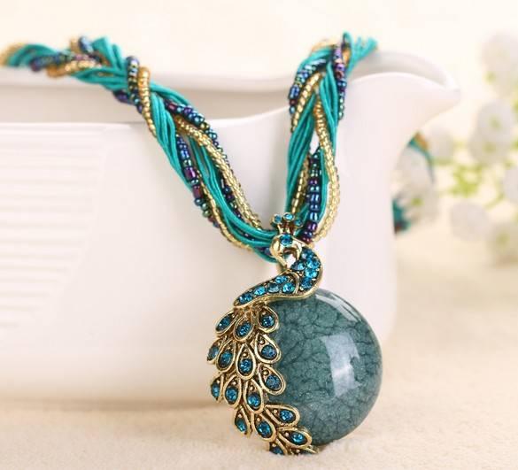 Retro style reiki ball necklace