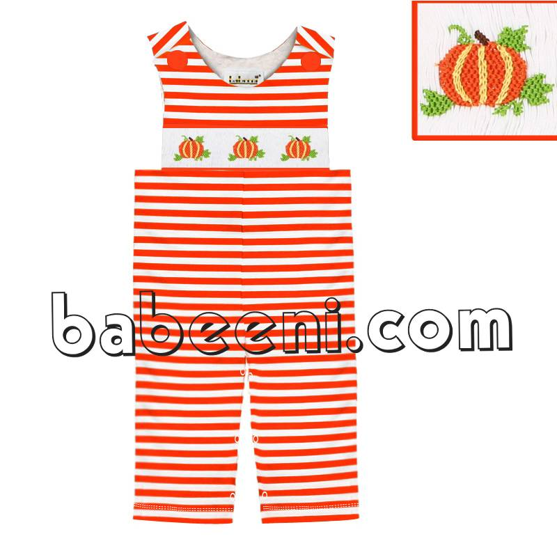 Beautiful pumpkin smocked knit jon jon - KN 128