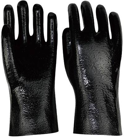 30cm black rough fninished PVC working safety gloves