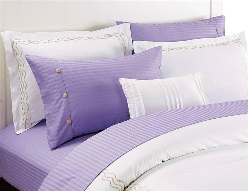 Sateen Stripe Polycotton Flat Sheet Set Bedding Set