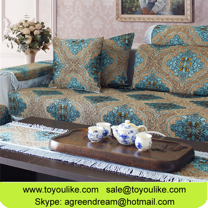 Big Jacquard Flocked Luxury Chenille Sectional Sofa Covers with Tassels