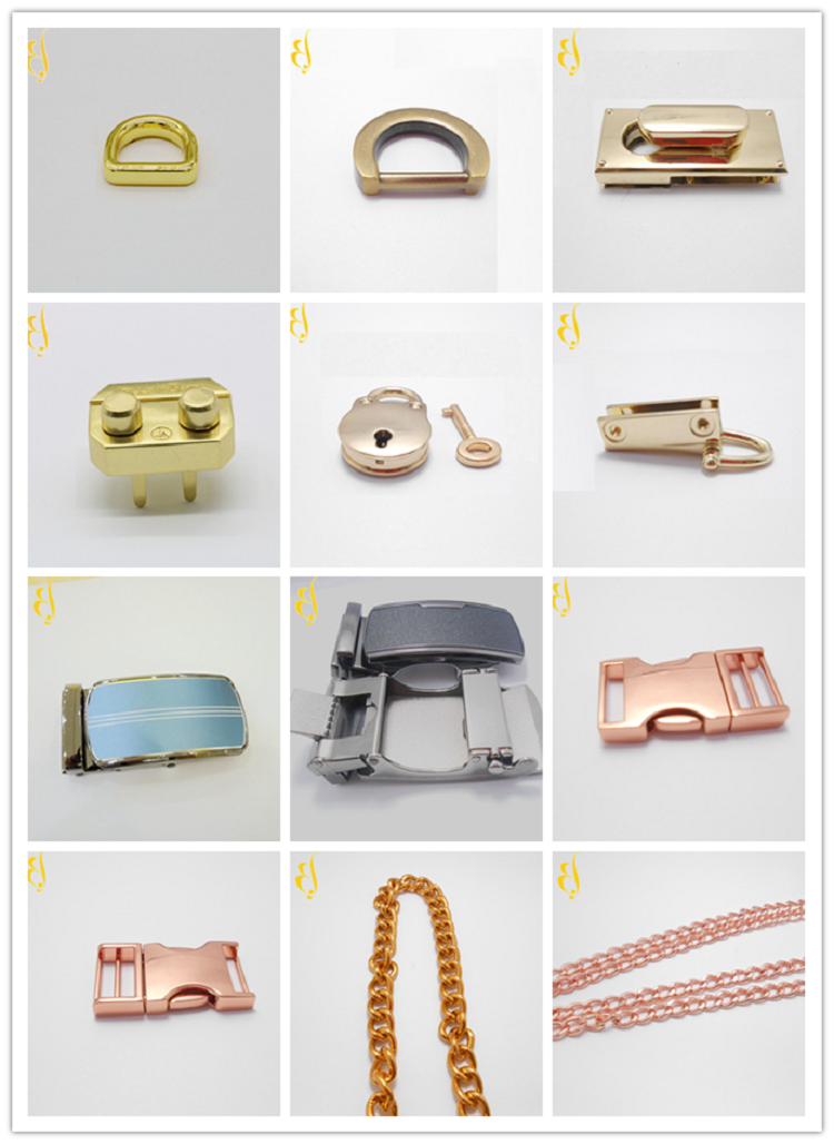 woven and leather bags and belts and related metal accessory parts.such as buckles,tags,Zipper pul