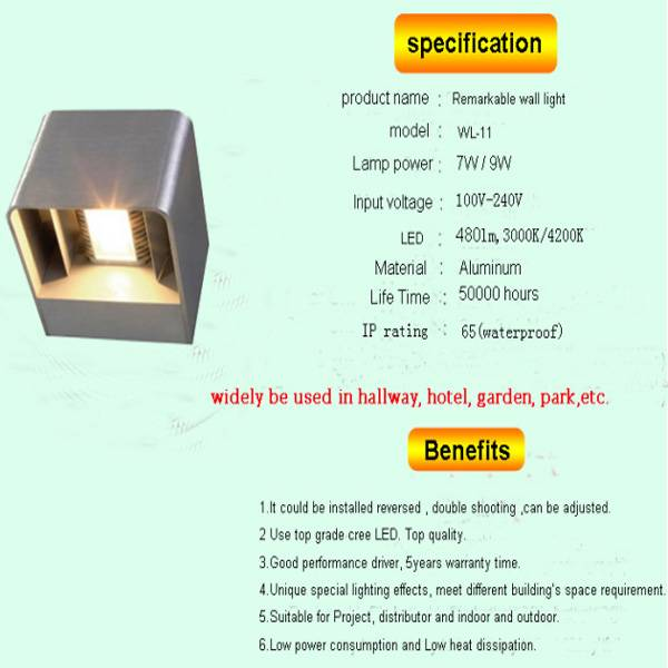 7w up down light wall led aluminum outdoor lamp