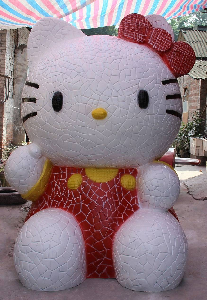 Vivid resin cartoon hello kitty statue
