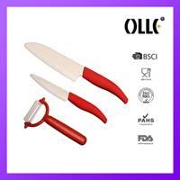 red ceramic knife set