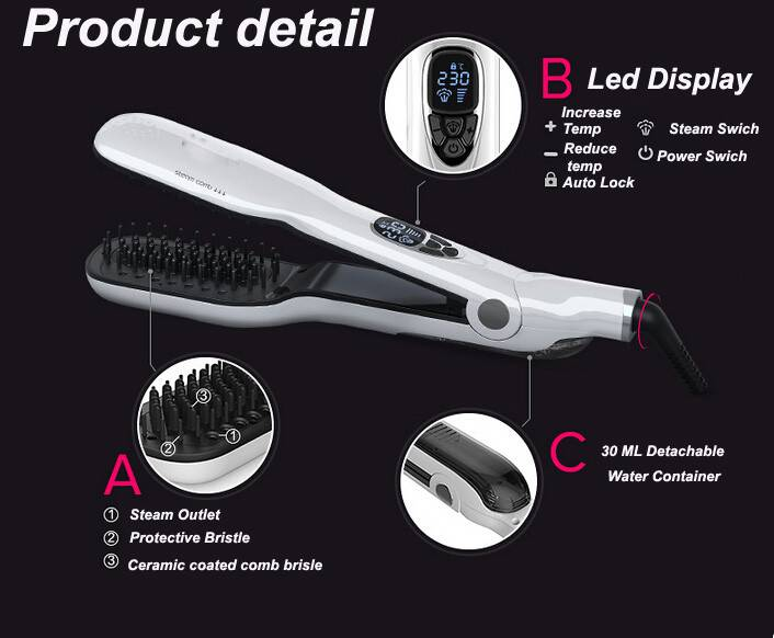 Beauty Salon tools Steam Hairstraighter brush steam comb with ceramic coating