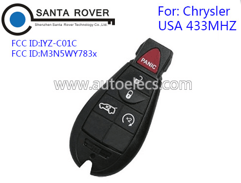 For Chrysler Dodge Jeep Smart Remote Key fob (USA) M3N5WY783X with 4+1 button 433MHz
