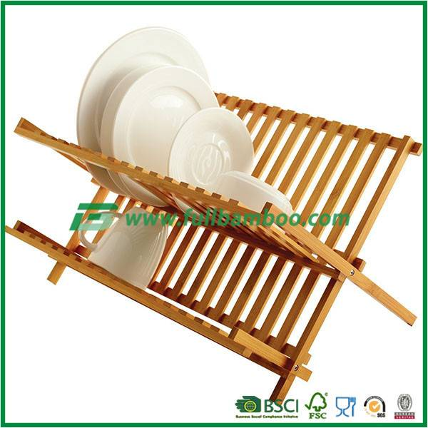 Modern Kitchen Design Bamboo Plate Storage Folding Dish Racks