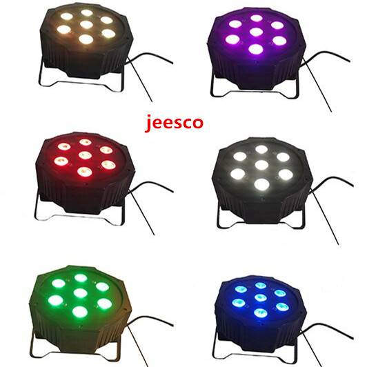 7PCS 12W 4 in 1 RGBW Plastic Flat LED PAR Light/stage light/disco light