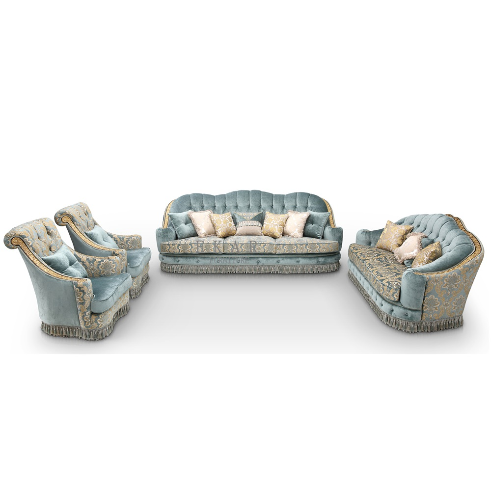 Luxury Classic European American Fabric Living Room Sofa Set Ocean Blue