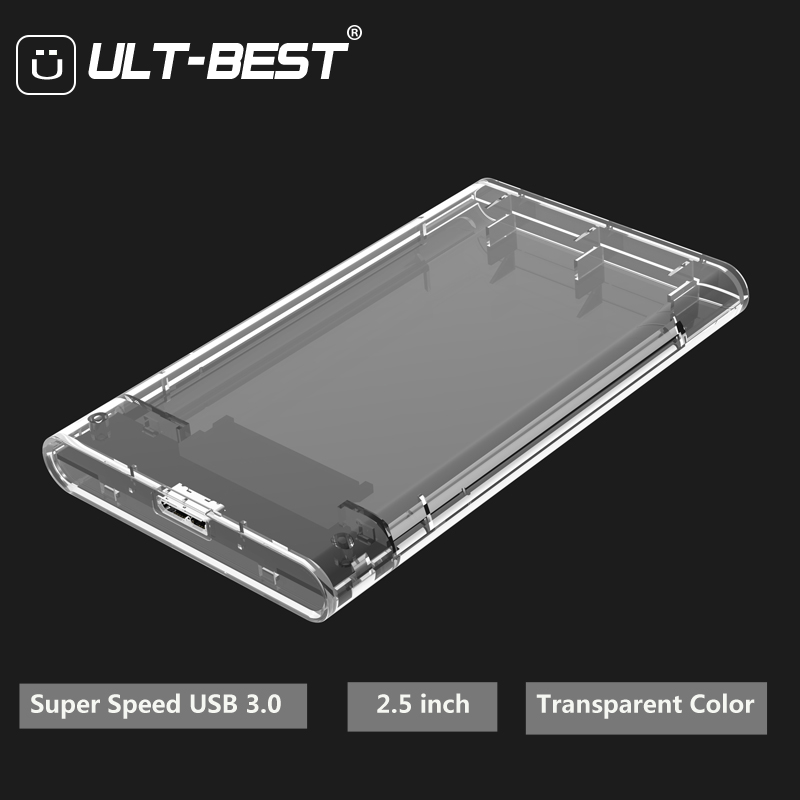 ULT-Best 2.5 inch HDD Enclosure Transparent Color USB 3.0 to SATA III UASP HD Box