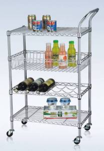 4 Tiers Multi-Functional Metal Kitchen Storage Cart with Basket and Wine Shelf