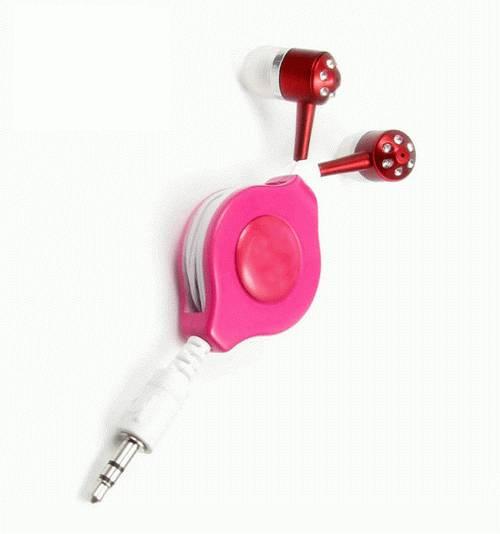 Earphones with retractable cord