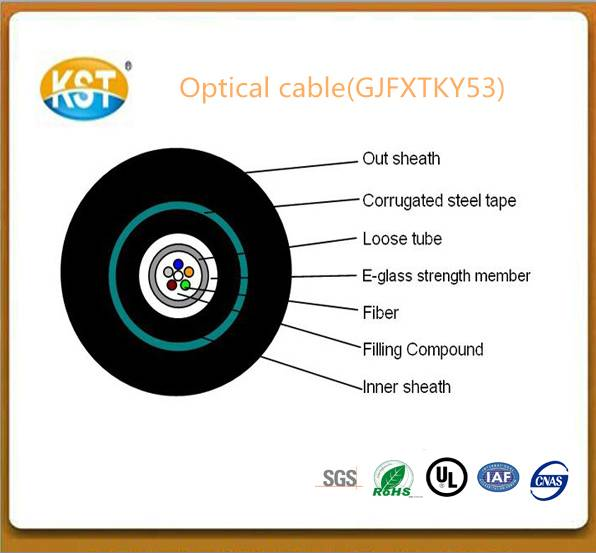 Fiber cable/2-10 cores Central Loose Tube Outdoor  Armored Cable(GJFXTKY53)