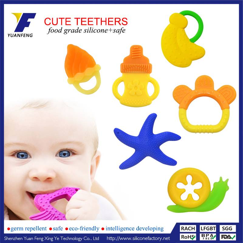 Custom Made Baby Teething Toys BPA Free Food Grade Silicone Teether