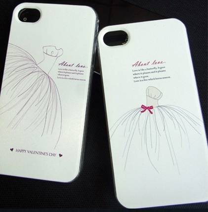 wedding red bow mobile phone case for iphone 4 4s Colorful embossed painted cover