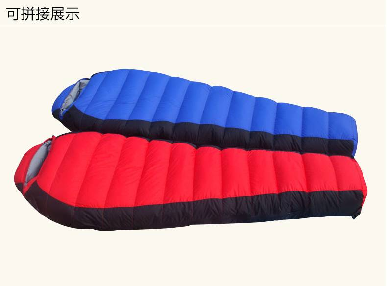 Thick down sleeping bag white eiderdown super warm winter high-end portable sleeping bag is extremel
