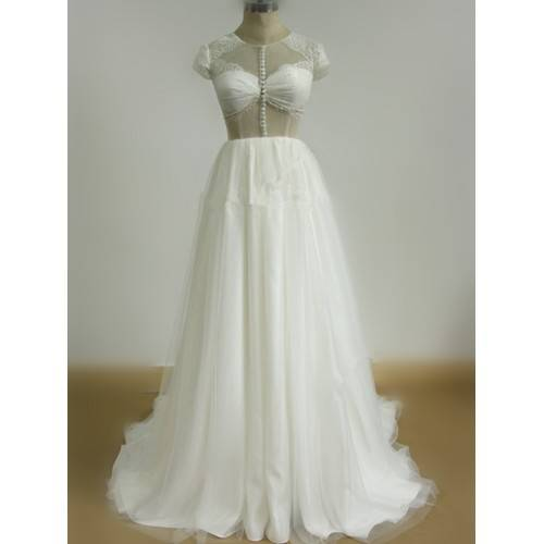 SEXY A-LINE ELASTIC WOVEN SATIN &TULLE LACE ROUND NECK CAP SLEEVES CHAPEL TRAIN WEDDING DRESS W8042
