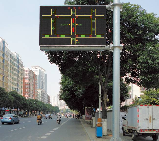 Outdoor traffic induced electronic full-color displays