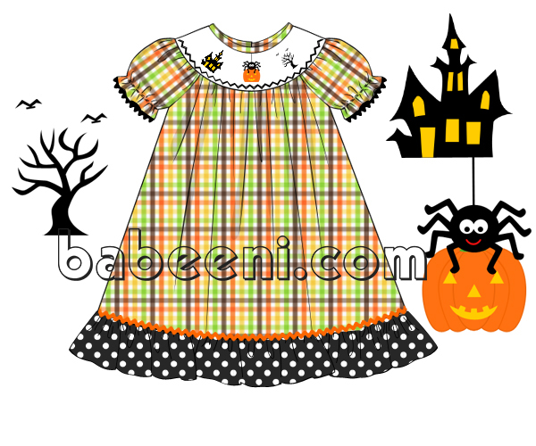 Halloween hand smocked dress