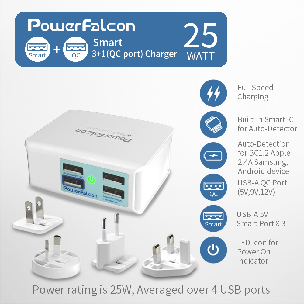 PowerFalcon 25W Smart 3+1(QC2.0) port Charger/interchangable