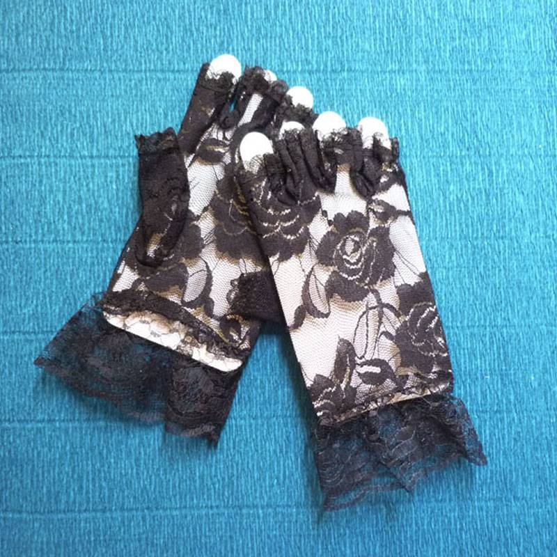 Fingerless Kids Lace Gloves