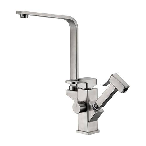 Patented design square kitchen sink pull out faucet brushed