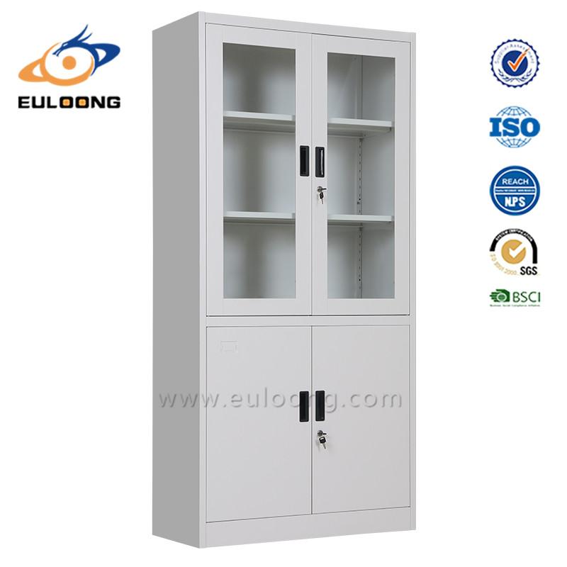 Metal cabinet with glass doors